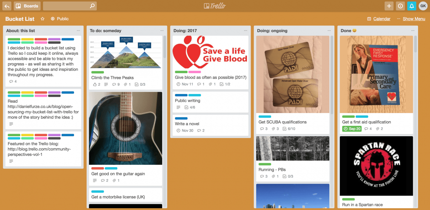 How to start a bucket list using Trello