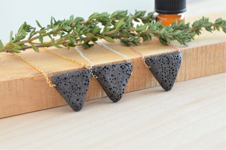 Triangle Lava Stone Necklace by Twisted Tree Jewelry